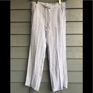Athleta Herringbone Stripe Linen Pants 10